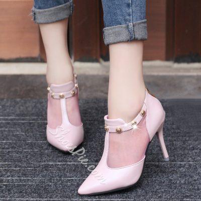 Shoespie Lolita Style Mesh Patchwork Stiletto Heels