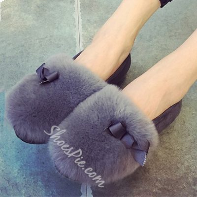 Shoespie Lovely Faux-Fur Matched Flats
