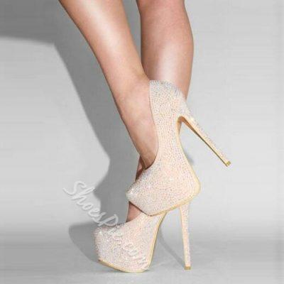 Shoespie Luxurious Rhinestone Platform Heels