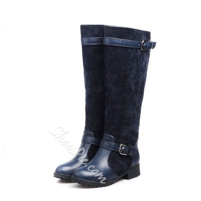 Shoespie Materials Contrast Knee High Boots