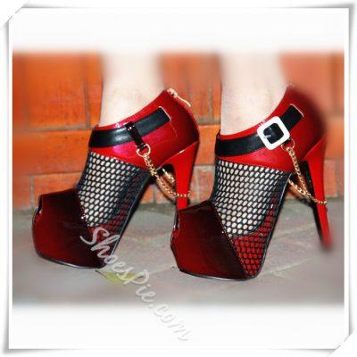 Shoespie Mesh Assorted Peep-toe Platform Heels
