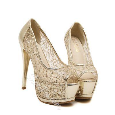 Shoespie Mesh Peep Toe Platform Heels