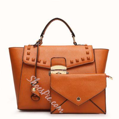 Shoespie Metal Color Rivet Decorated Handbag
