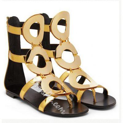 Shoespie Metal Zipper Thong Flat Sandals
