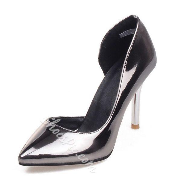 Shoespie Metallic Pointed Toe Stiletto Heels