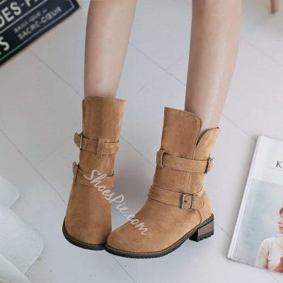 Shoespie Nubuck Buckles Flat Boots