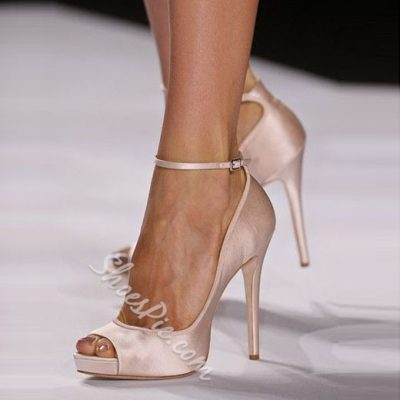 Shoespie Nude Peep Toe Ankle Wrap Stiletto Heels