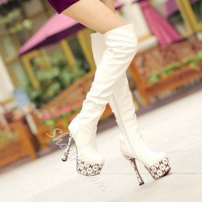 Shoespie Patent Leather Contrast Color Over Knee High Boos