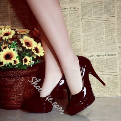 Shoespie Patent Leather Platform Heels