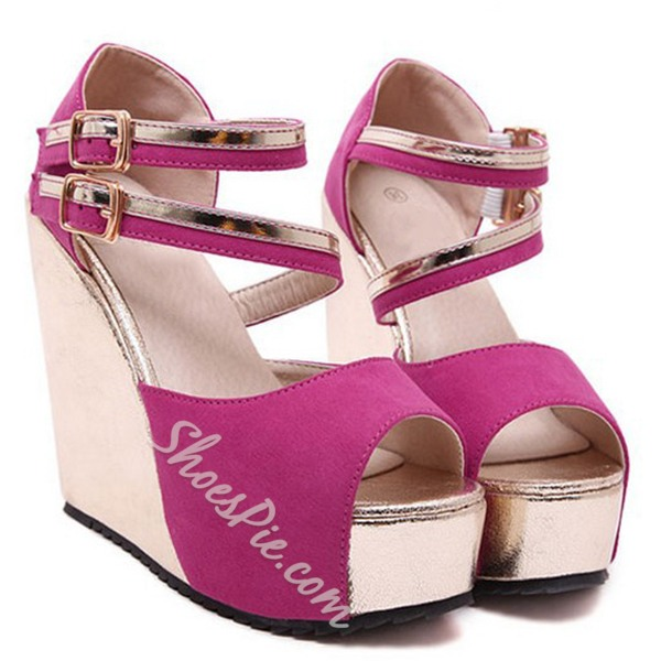 Shoespie Peep Toe Strappy Wedge Sandals