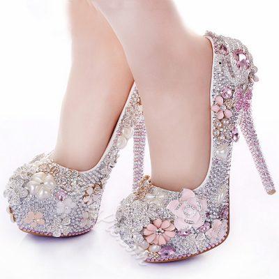 Shoespie Pink Rhinestone Round-toe Bridal Shoes