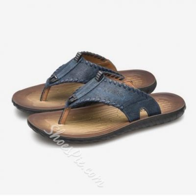 Shoespie Pure Color Leather Stitches Decorated Thong Men's Slippers