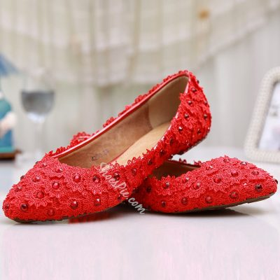 Shoespie Red Flower Decorated Bridal Shoes