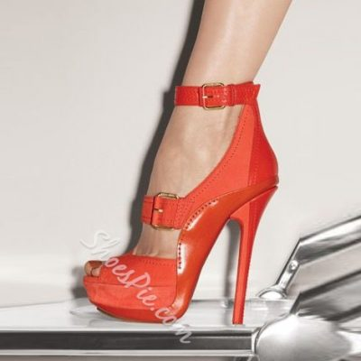 Shoespie Red Peep Toe Ankle Wrap Platform Heels