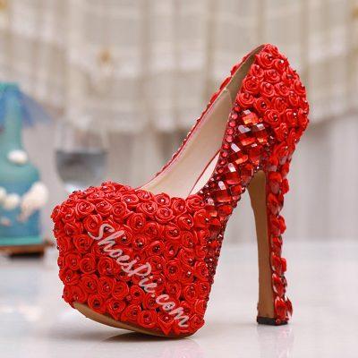 Shoespie Red Rhinestone Platform Bridal Shoes