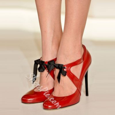 Shoespie Red Ribbon Strapped Stiletto Heels