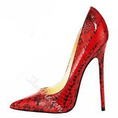 Shoespie Red Snake Pattern Pointed Toe Stiletto Heels
