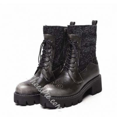 Shoespie Retro Contrast Materials Flat Boots