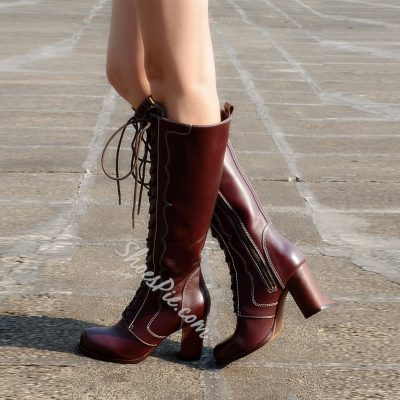 Shoespie Retro Genuine Leather Lace up Knee High Boots