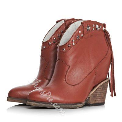 Shoespie Retro Tassels Chunky Heels Boots