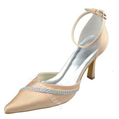 Shoespie Rhinestone Ankle Wrap Stiletto Heels