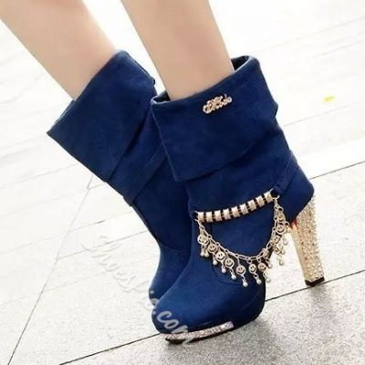 Shoespie Rhinestone Chains Mid-calf Crystal Heel Boots