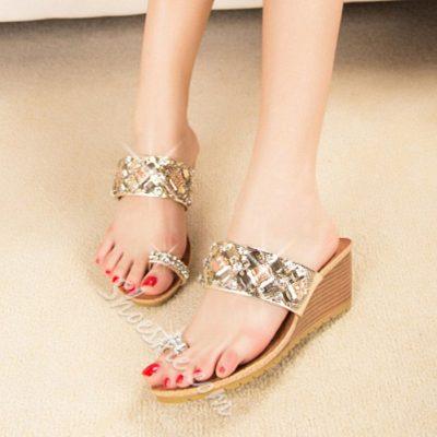 Shoespie Rhinestone Clip Toe Mules