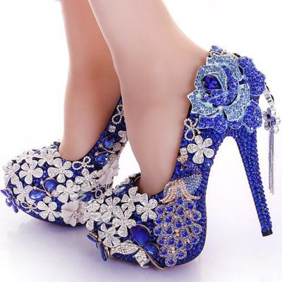 Shoespie Rhinestone Color Contrast Bridal Shoes