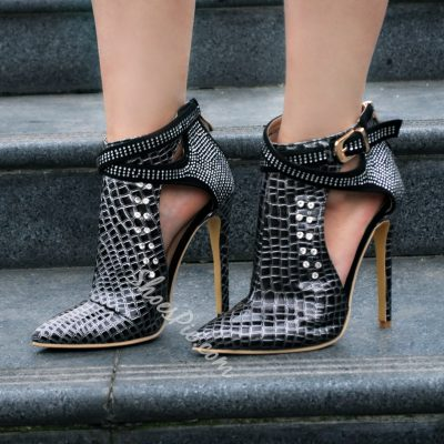 Shoespie Rhinestone Cut out Ankle Boots