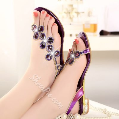 Shoespie Rhinestone Flat Sandals