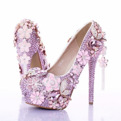 Shoespie Rhinestone Flower Tassels Bridal Shoes