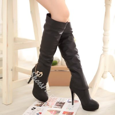 Shoespie Rhinestone Heart Design Knee High Boots