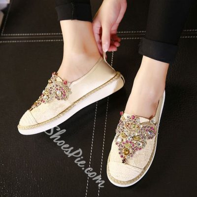 Shoespie Rhinestone Loafers