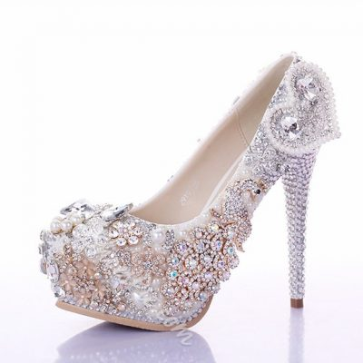 Shoespie Rhinestone Pearl Decoration Bridal Shoes