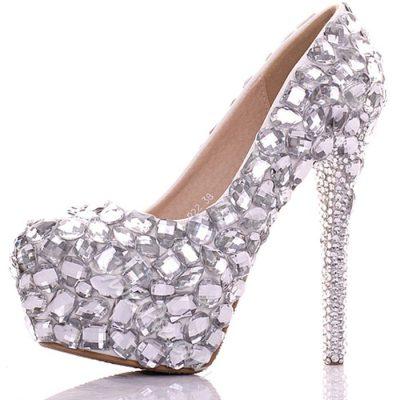 Shoespie Rhinestone Round-toe Platform Bridal Shoes