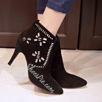 Shoespie Rhinestone Zipper Ankle Boots