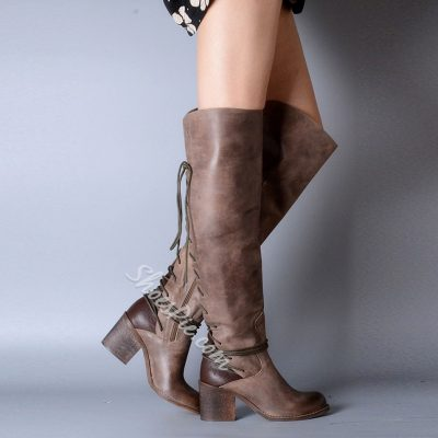 Shoespie Rivet Flat Knee High Boots