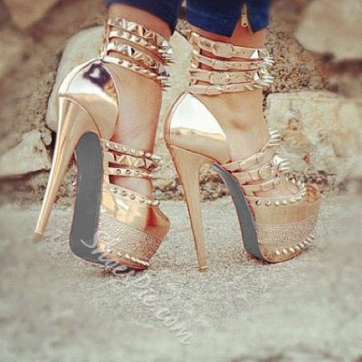 Shoespie Rivets Ankle Wrap Peep-toe Platform Heels