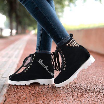 Shoespie Rivets Lace up Flat Boots