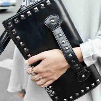 Shoespie Rivets Pure Color Handbag