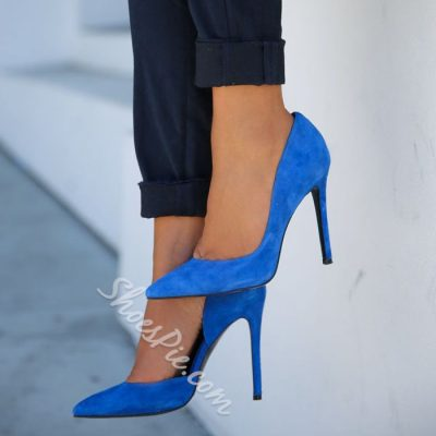 Shoespie Royal Blue Pointed Toe Stiletto Heels