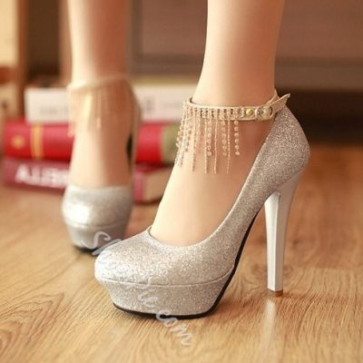 Shoespie Sequined Ankle Wrap Tassel Platform Heels