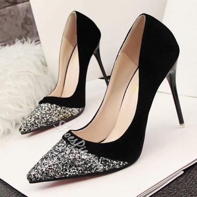 Shoespie Sequined Contrast Stiletto Heels