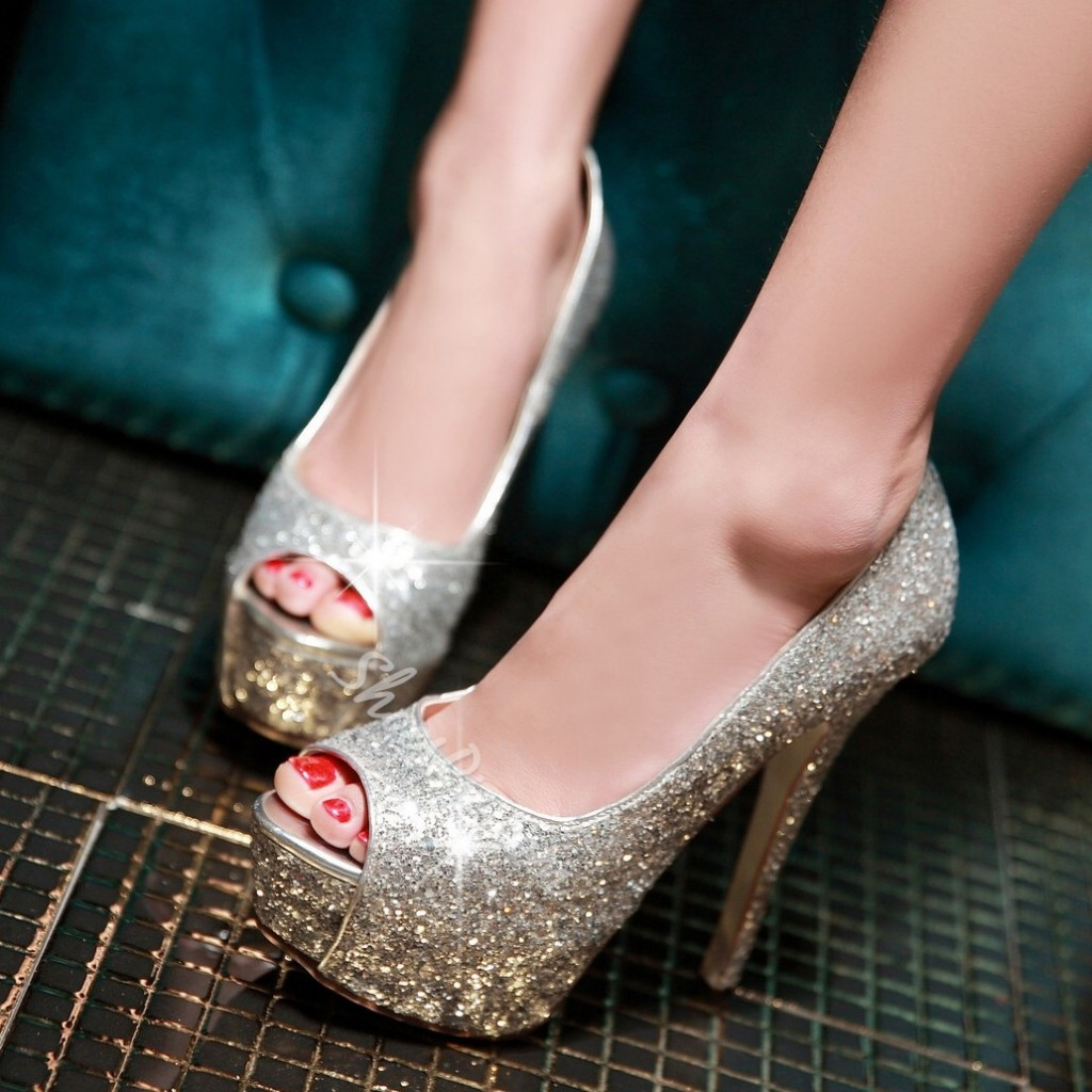 Shoespie Sequined Decoration Peep-toe Platform Heels