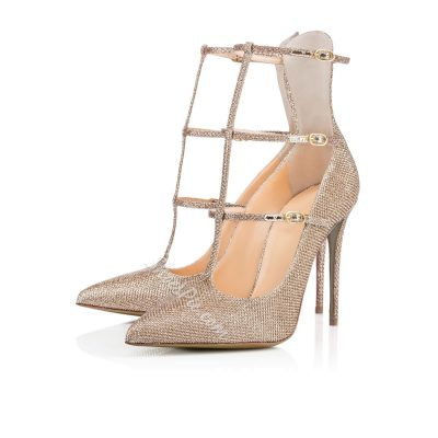 Shoespie Sequined Fabric Buckle Straps Stiletto Heels