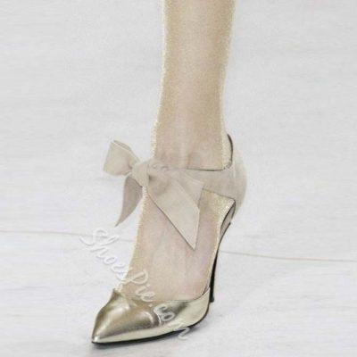 Shoespie Sequined Golden Bowtie Knot Stiletto Heels
