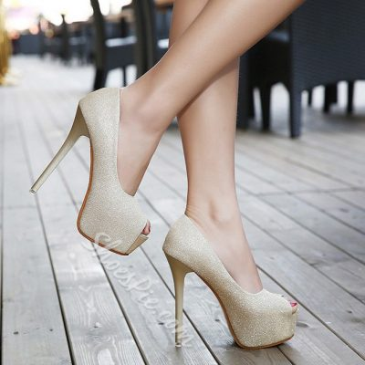 Shoespie Sequined Peep-Toe Stiletto Heels