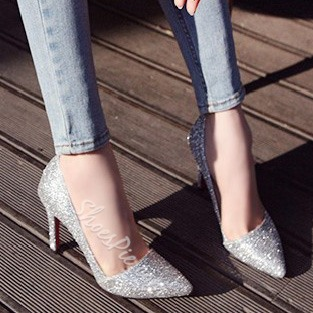 Shoespie Sequined Pointed-toe Stiletto Heels