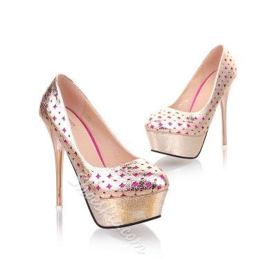 Shoespie Sequined Round-toe Platform Heels