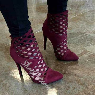 Shoespie Sexy Burgundy Cut Out Pointed Toe Stiletto Heel Shoes